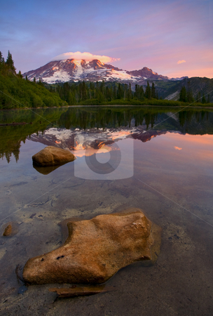 Red Mountain Dawn stock photo, Dawn illuminates the cloud-capped peak of Mt. Rainier as it reflects in the by Mike Dawson