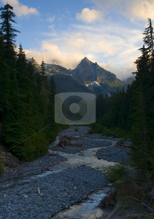 Tahoma Glow stock photo, Little Tahoma glows in the light of the setting sun as fraying pan creek winds it way downstream in the shadows. by Mike Dawson