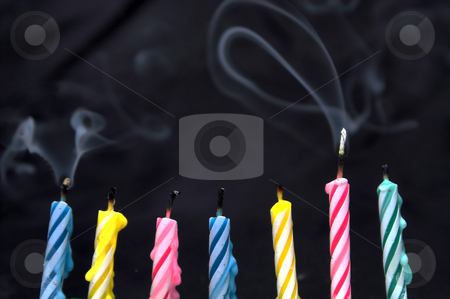 Birthday Candles stock photo, Several wax cancles typically used for birthday celebrations. by Robert Byron