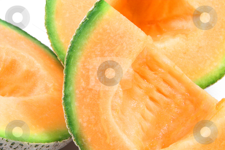 Cantaloupe stock photo, Delicious and freshly sliced natural organic cantaloupe. by Robert Byron