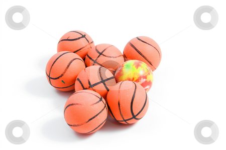 Bouncy Balls stock photo, Bouncy Balls shaped like basketballs. by Robert Byron