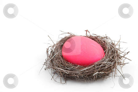 Easter Egg stock photo, A pink Easter Egg in a bird's nest. by Robert Byron