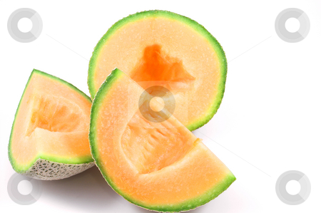 Cantaloupe stock photo, Delicious and freshly sliced natural organic cantaloupe. by Robert Byron