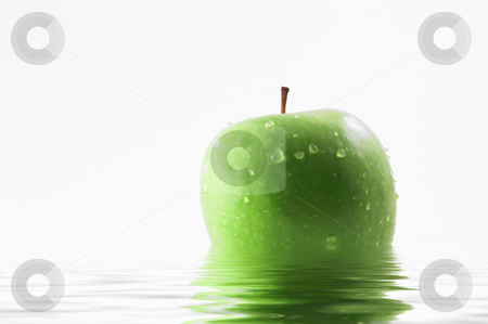 Wet Apple stock photo, A wet apple sitting in water. by Robert Byron