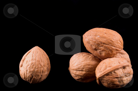 Walnuts stock photo, Delicious whole unshelled walnuts ready for consumption. by Robert Byron