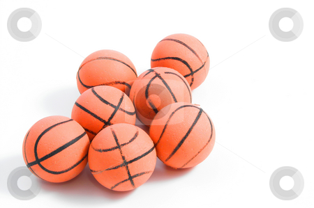 Bouncy Balls stock photo, Bouncy Balls shaped like basketballs. by Robert Byron