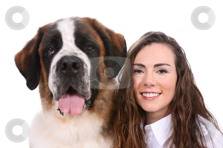 Woman and her dog stock photo, Side By Side portrait of a Saint Bernard and pretty owner. by Sue and Shawn Roberts