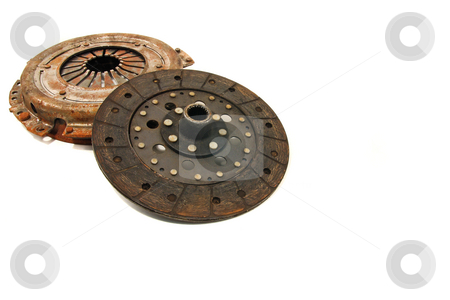 Transmission Parts stock photo, Used clutch and pressure plate for old volkswagen beetle by Jack Schiffer