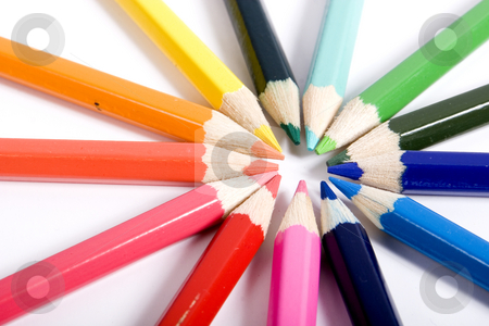 Color pencils stock photo, Pencils sharpened color assortment on white backgroud by Fesus Robert