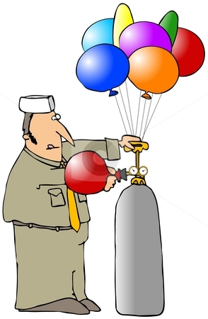 Balloon Man stock photo, This illustration depicts a man filling helium balloons. by Dennis Cox