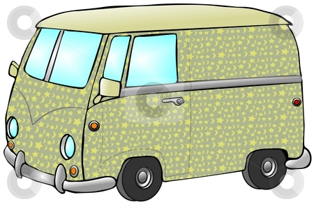 Hippie Van stock photo, This illustration depicts a European style van with a sun and moon pattern on the side. by Dennis Cox