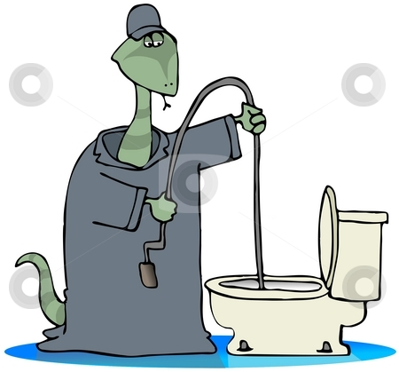 Toilet Snake stock photo, This illustration depicts a snake in coveralls cleaning a plugged toilet. by Dennis Cox