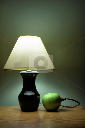Apple Powered Lamp stock photo, A lamp powered by the awesome power of fruit goodness. by Robert Byron