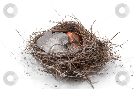 Nest Egg stock photo, A bird's nest filled with various coins. by Robert Byron