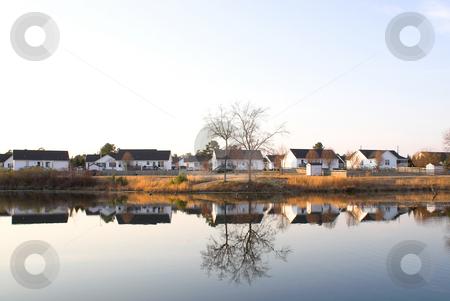 Lake Houses stock photo, A neighborhood of houses on a lake. by Robert Byron