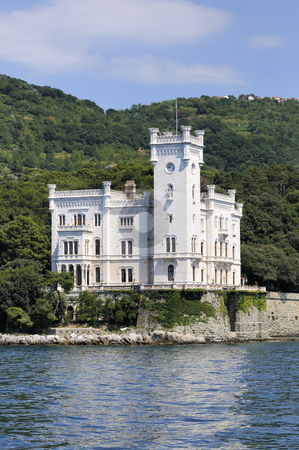 Trieste (Italy), Miramare Castle stock photo, Miramare Castle in Trieste (Italy) viewed from the sea by Massimiliano Leban