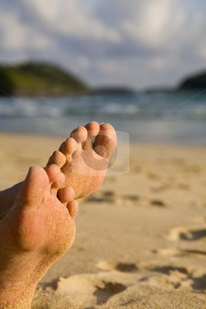 Sandy feet on beach stock photo, Sandy feet on beach by Magdalena Ascough