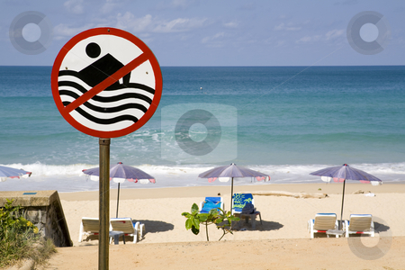 No swimming sign on beach stock photo, No swimming sign at a beach by Magdalena Ascough
