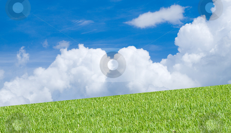 Grass and Sky stock photo, Green Grass and blue sky with clouds by Robert Cabrera