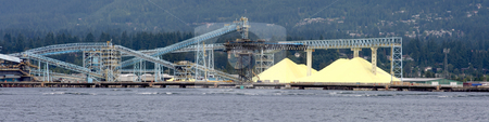 Harbor Panorama stock photo, Panoramic view of the harbor with conveyors and sulfur piles. by Steve Stedman