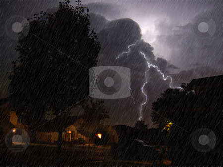Lightning stock photo, Lightning bolts during a bad storm at night by Sam Sapp