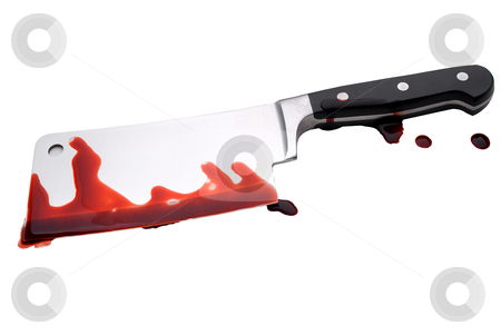 Bloody Butchers Knife stock photo, A bloody butcher's knife by Vince Clements