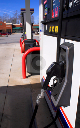 Gas Pumps stock photo, A line of gas pumps at a srvice station. by Robert Byron