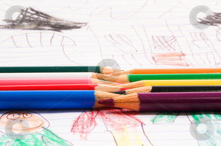 Colored Pencils stock photo, Colored Pencils used in schools to color on paper and walls and such. by Robert Byron