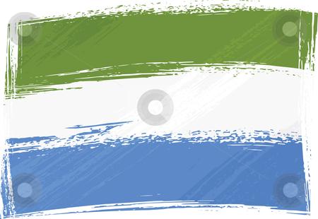 Grunge Sierra Leone flag stock vector clipart, Sierra Leone national flag created in grunge style by Oxygen64