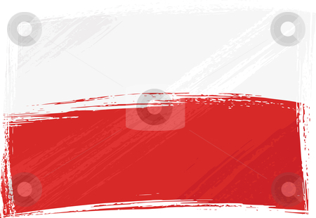 Grunge Poland flag stock vector clipart, Poland national flag created in grunge style by Oxygen64