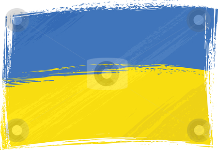 Grunge Ukraine flag stock vector clipart, Ukraine national flag created in grunge style by Oxygen64