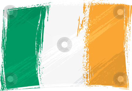 Grunge Ireland flag stock vector clipart, Ireland national flag created in grunge style by Oxygen64