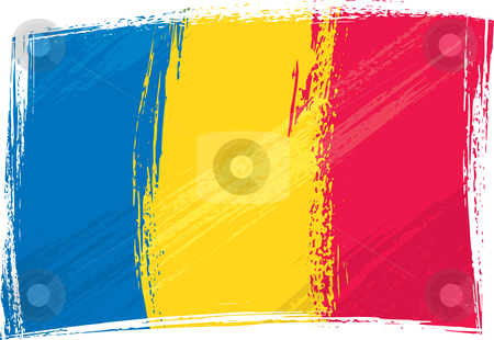 Grunge Romania flag stock vector clipart, Romania national flag created in grunge style by Oxygen64