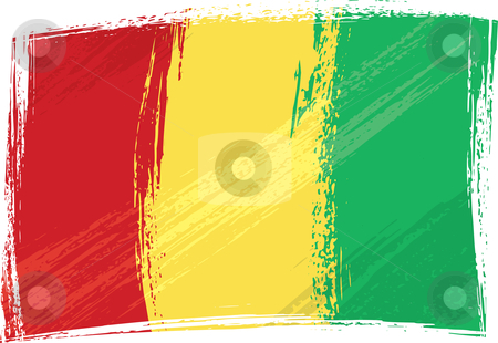 Grunge Guinea flag stock vector clipart, Guinea national flag created in grunge style by Oxygen64