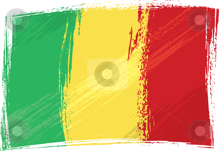 Grunge Mali flag stock vector clipart, Mali national flag created in grunge style by Oxygen64
