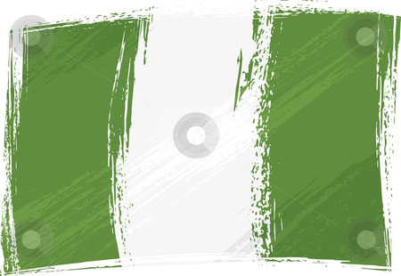 Grunge Nigeria flag stock vector clipart, Nigeria national flag created in grunge style by Oxygen64