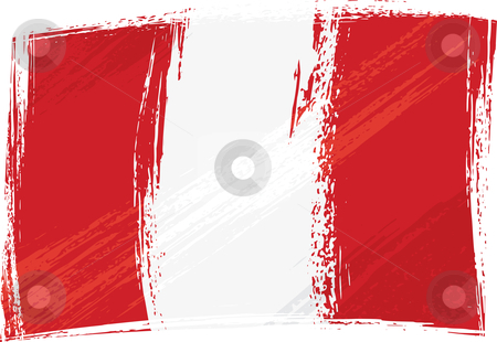 Grunge Peru flag stock vector clipart, Peru national flag created in grunge style by Oxygen64