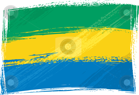 Grunge Gabon flag stock vector clipart, Gabon national flag created in grunge style by Oxygen64