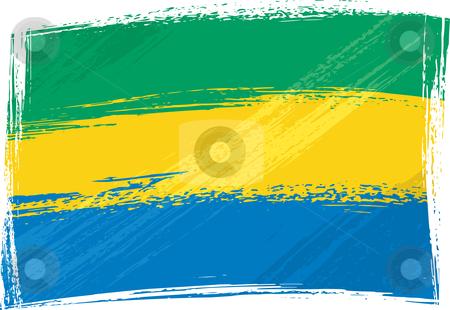 Grunge Gabon flag stock vector clipart, Gabon national flag created in grunge style by Oxygen64