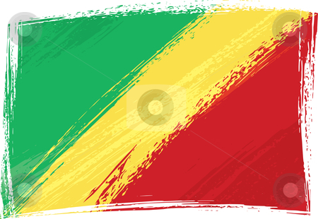 Grunge Congo flag stock vector clipart, The Republic of the Congo national flag created in grunge style by Oxygen64