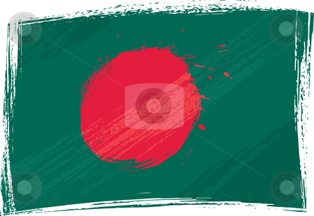Grunge Bangladesh flag stock vector clipart, Bangladesh national flag created in grunge style by Oxygen64