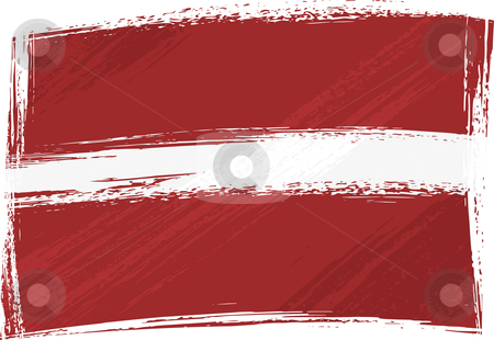 Grunge Latvia flag stock vector clipart, Latvia national flag created in grunge style by Oxygen64