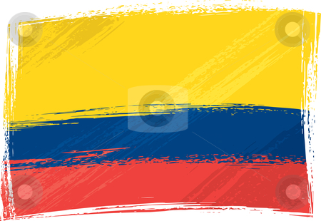 Grunge Colombia flag stock vector clipart, Colombia national flag created in grunge style by Oxygen64