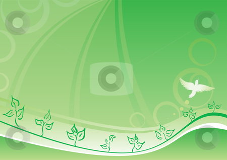Spring background stock vector clipart, Fresh seasonal spring design with bird on green background by Oxygen64