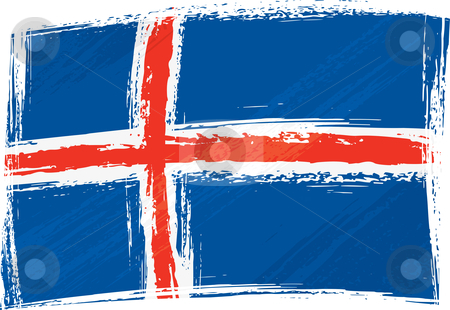 Grunge Iceland flag stock vector clipart, Iceland national flag created in grunge style by Oxygen64