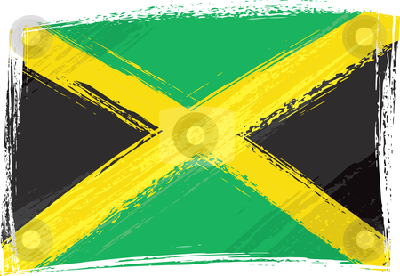 Grunge Jamaica flag stock vector clipart, Jamaica national flag created in grunge style by Oxygen64