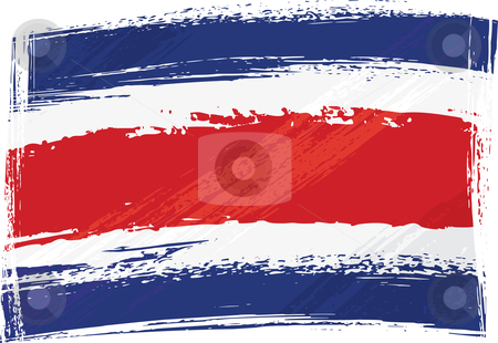 Grunge Costarica flag stock vector clipart, Costarica national flag created in grunge style by Oxygen64