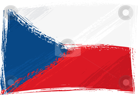 Grunge Czech Republic flag stock vector clipart, Czech Republic national flag created in grunge style by Oxygen64