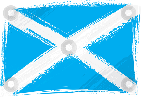 Grunge Scotland flag stock vector clipart, Scotland national flag created in grunge style by Oxygen64