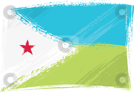 Grunge Djibouti flag stock vector clipart, Djibouti national flag created in grunge style by Oxygen64